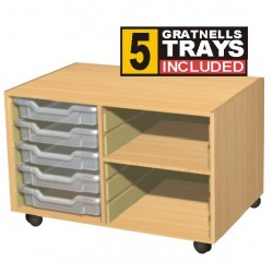 Double Bay 5 Tray Storage Unit with Shelves