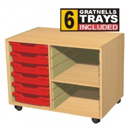 Double Bay 6 Tray Storage Unit with Shelves