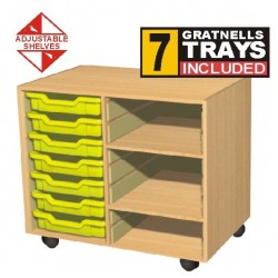 Double Bay 7 Tray Storage Unit with Shelves