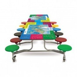 Rectangular Mobile Folding Table with Smart Top