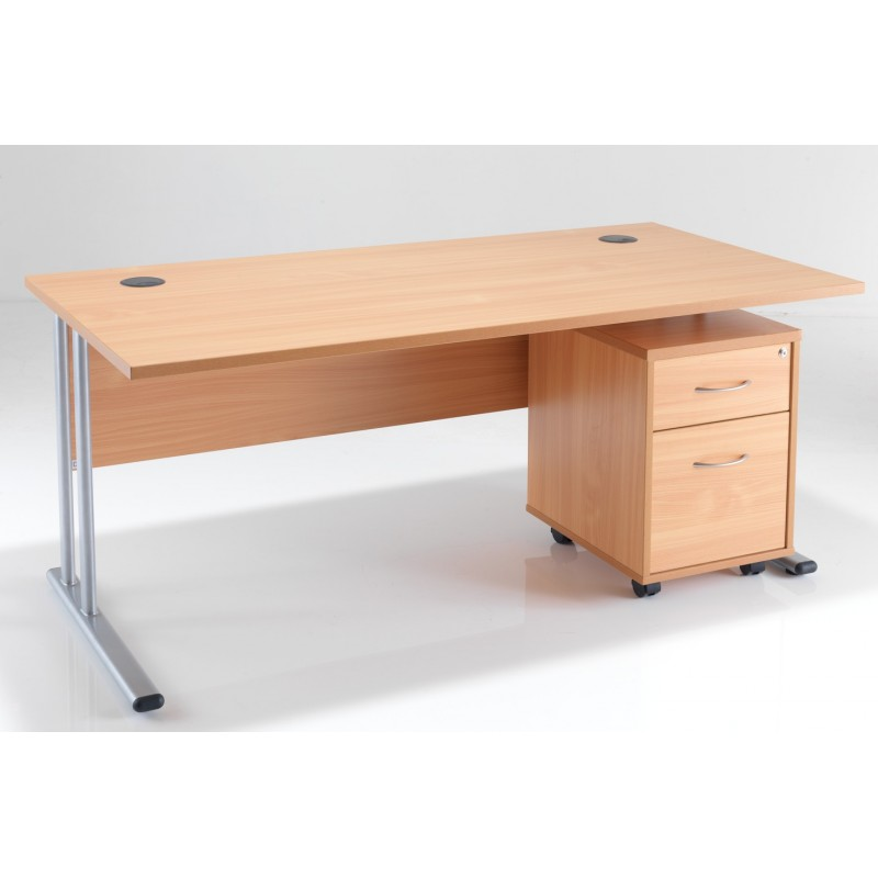 Rectangular Office Desk Under 2 Drawer Pedestal Bundle Deal